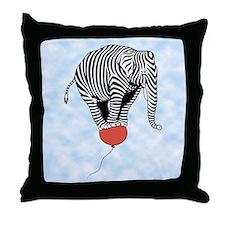 Flying Elephant Zebra Throw Pillow