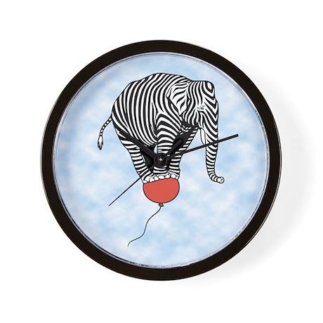 Flying Elephant Zebra Wall Clock