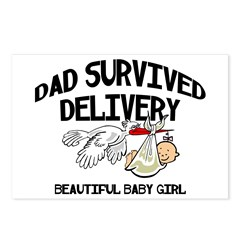 Dad Survived Delivery Baby Girl Postcards (Package