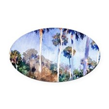 Palms, painting by John Singer Sar Oval Car Magnet