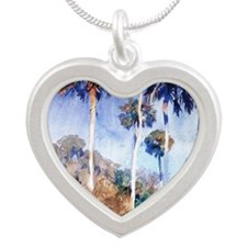 Palms, painting by John Sing Silver Heart Necklace