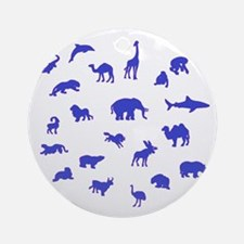Blue Animals Round Ornament