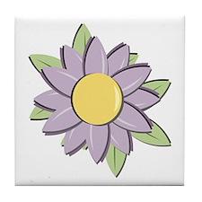 Purple Cartoon Flower Spring Tile Coaster