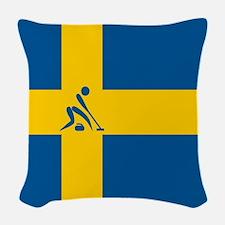 Team Curling Sweden Woven Throw Pillow