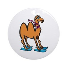 Silly Skiing Camel Ornament (Round)
