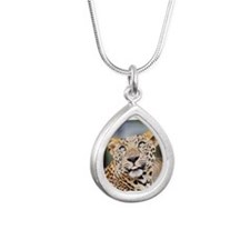 Armani Leopard Silver Teardrop Necklace