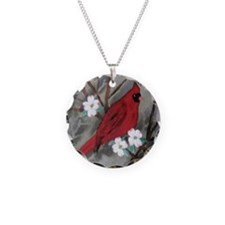 MALE CARDINAL Necklace Circle Charm