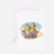 Resting Camel & Pyramids Design Greeting Cards (Pa