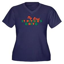 My first St. Women's Plus Size V-Neck Dark T-Shirt