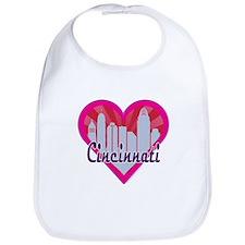 Cincinnati Skyline Sunburst Heart Bib