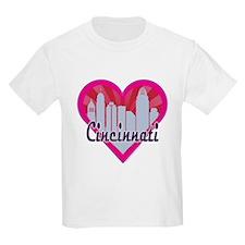 Cincinnati Skyline Sunburst Heart T-Shirt