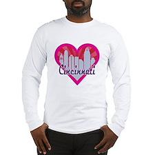 Cincinnati Skyline Sunburst Heart Long Sleeve T-Sh