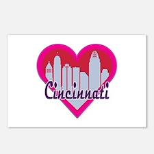 Cincinnati Skyline Heart Postcards (Package of 8)