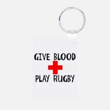 Give Blood, Play Rugby Keychains