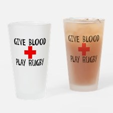 Give Blood, Play Rugby Drinking Glass