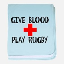 Give Blood, Play Rugby baby blanket