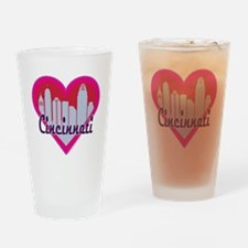 Cincinnati Skyline Heart Drinking Glass