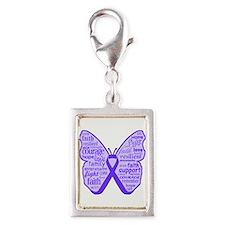 Alzheimers Disease Butterfly Silver Portrait Charm