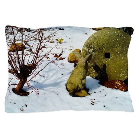 stone bunny in snow Pillow Case