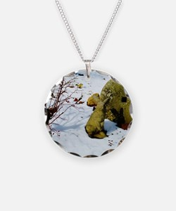 stone bunny in snow Necklace