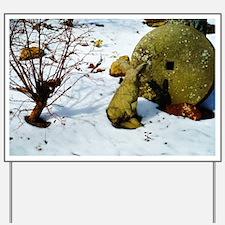 stone bunny in snow Yard Sign