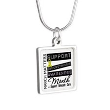 Endometriosis Awareness Mo Silver Square Necklace