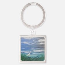 Egret by the Water Square Keychain