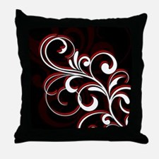 White and Red Simple Swirls Throw Pillow