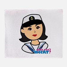 Medium Navy Head - Dress Whites Throw Blanket
