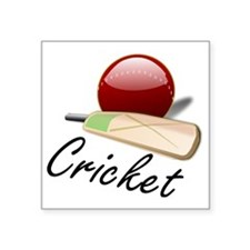 "Cricket, bat and ball Square Sticker 3"" x 3"""