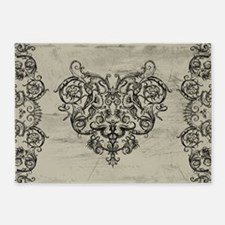 Grotesque Ornament Heart 5'x7'Area Rug