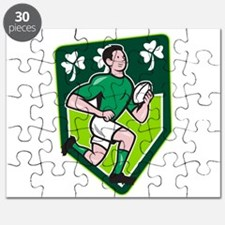 Irish Rugby Player Running Ball Shield Cartoon Puz