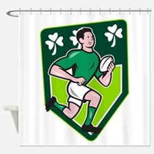 Irish Rugby Player Running Ball Shield Cartoon Sho