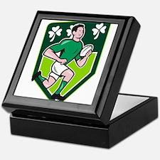 Irish Rugby Player Running Ball Shield Cartoon Kee