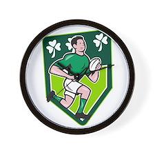 Irish Rugby Player Running Ball Shield Cartoon Wal