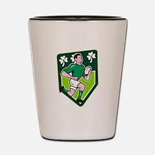 Irish Rugby Player Running Ball Shield Cartoon Sho