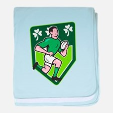 Irish Rugby Player Running Ball Shield Cartoon bab
