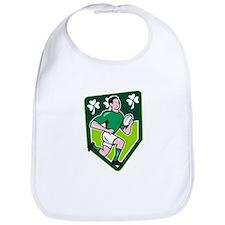 Irish Rugby Player Running Ball Shield Cartoon Bib