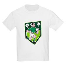 Irish Rugby Player Running Ball Shield Cartoon T-S