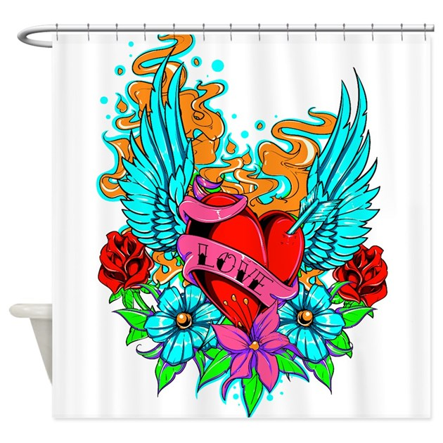 Tattoo heart1 shower curtain by funimages101 for How to shower with a new tattoo