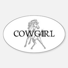 cowgirl & mustang Oval Decal