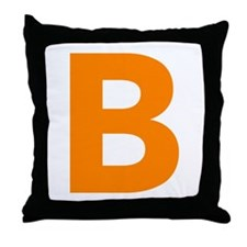 Letter B Orange Throw Pillow