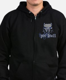 PitBull Grey Blue Zipped Hoodie