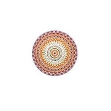Orange Elegance Mandala Mini Button