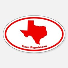 Texas RED STATE Oval Decal