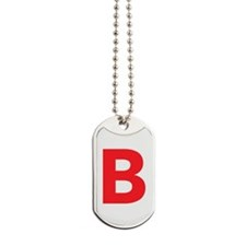 Letter B Red Dog Tags