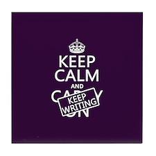 Keep Calm and Keep Writing Tile Coaster