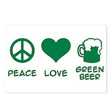 Peace love green beer Postcards (Package of 8)