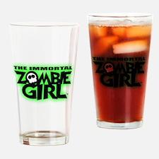 Immortal Zombie Girl Logo Drinking Glass