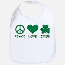 Peace love irish shamrock Bib